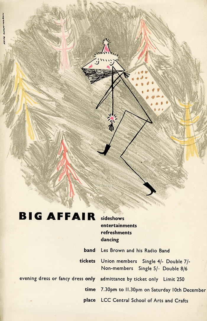 A poster, designed by Keith Cunningham, for a student event called 'Big Affair' held at the LCC Central School of Arts & Crafts, 1949. Taken from the Keith Cunningham Archive housed at the University of Brighton Design Archives.