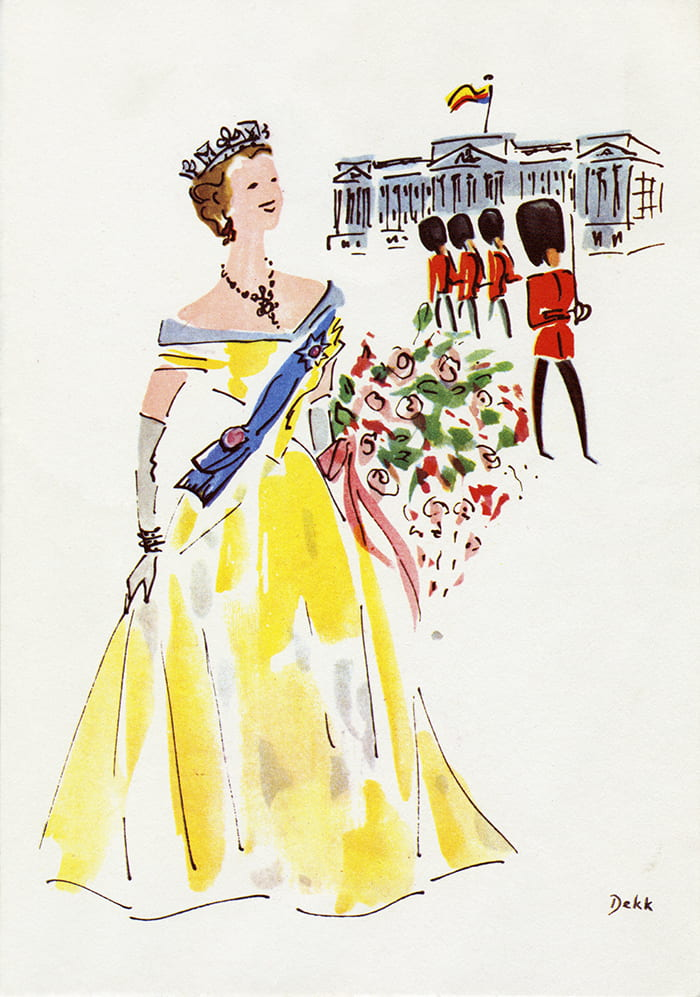 A colourful menu cover design depicting The Queen and her guards. Drwan for P&O Orient Line in the 1960s by Dorrit Dekk. Taken from the Dorrit Dekk Archive housed at the University of Brighton Design Archives.