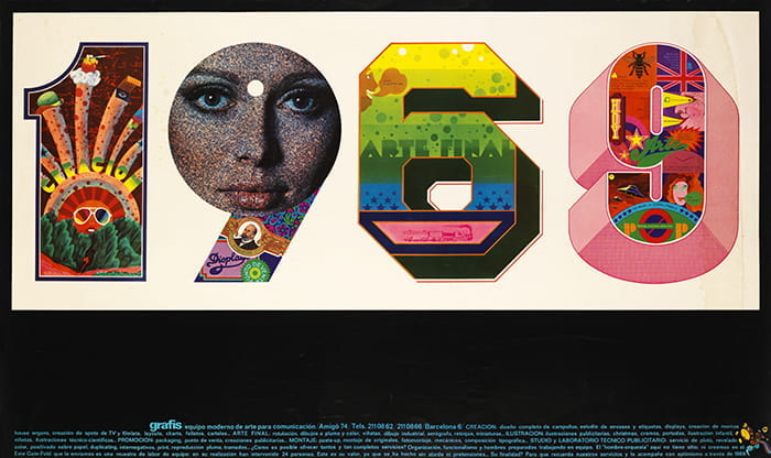 A colour poster depicting the year 1969 with colourful imagery inside the numbers. Advertisement poster for Grafis taking place in Spain in 1969. Taken from the Icograda (International Council of Graphic Design Associations) Archive housed at the University of Brighton Design Archives.