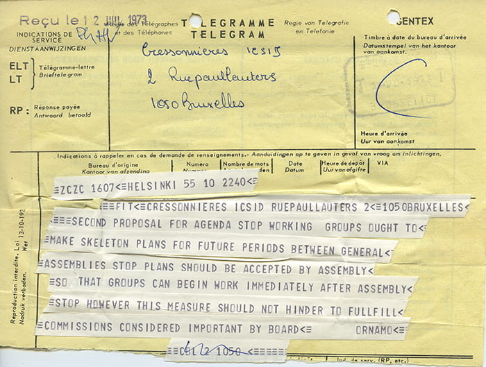 A yellow page telegram from ICSID to ORNAMO, taken from Finland's country file from the year 1973 in the ICSID Archive housed at the University of Brighton Design Archives.