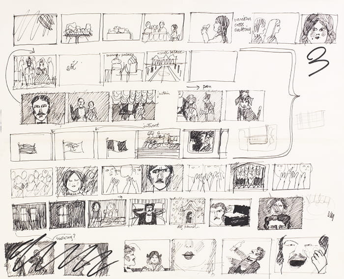 A black ink drawing on white paper depicting a section of a storyboard (no date) by Natasha Kroll. Taken from the Natasha Kroll Archive housed at the University of Brighton Design Archives.