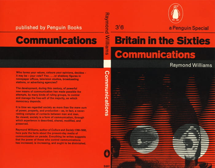 A red and black book cover of Britain in the Sixties - Communications written by Raymond Williams with cover designed by Richard Hollis. Published by Penguin Books. Taken from the Richard Hollis Archive housed at the University of Brighton Design Archives.
