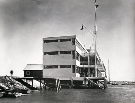 Black and white photo of Royal Corinthian Yacht Club, Burnham , view from sea facing the side of building.