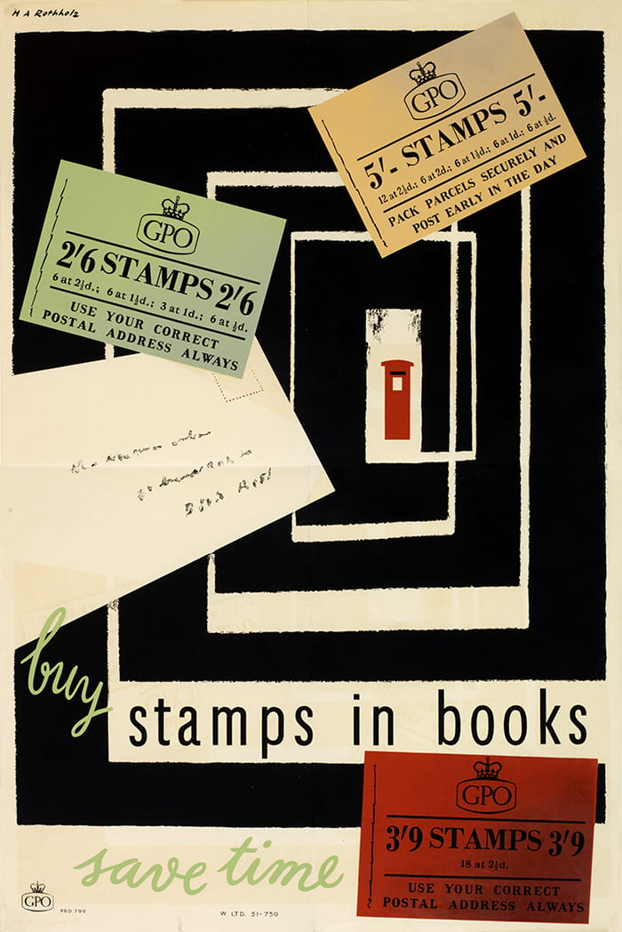 """Image shows pictures of three books of stamps and an addressed letter, with a postbox in the distance. Text reads """"buy stamps in books. save time."""""""