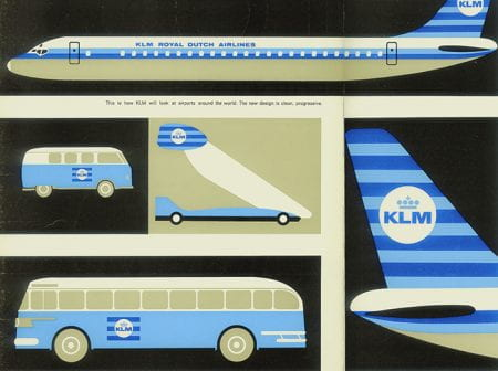 Drawings of KLM plane, KLM minivan, KLM boarding stairs, KLM plane tail, and KLM bus.