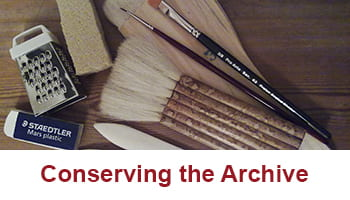 A button to take you to the Conserving the Archive blog