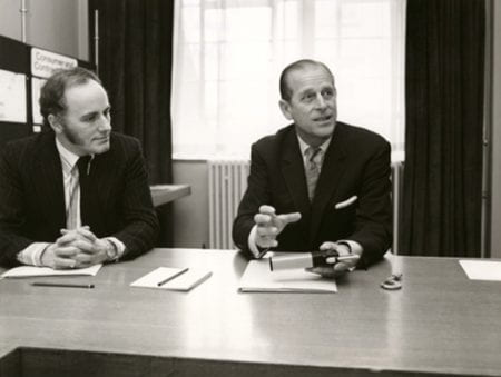 Black and white photograph of HRH Prince Phillip on the judging panel of the Design Council's Duke of Edinburgh Design Prize.