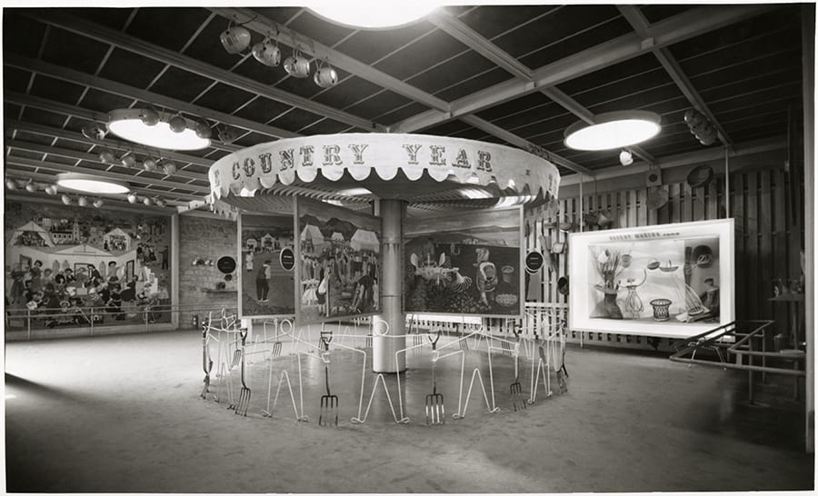 Black and white photograph showing a general view of the basket making display at the Country Pavilion at the Festival of Britain, 1951.