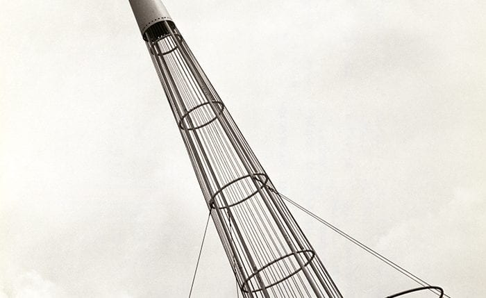 Black and white photograph showing a pointy pylon at the Farm and Factory Exhibition in Northern Ireland, 1951.