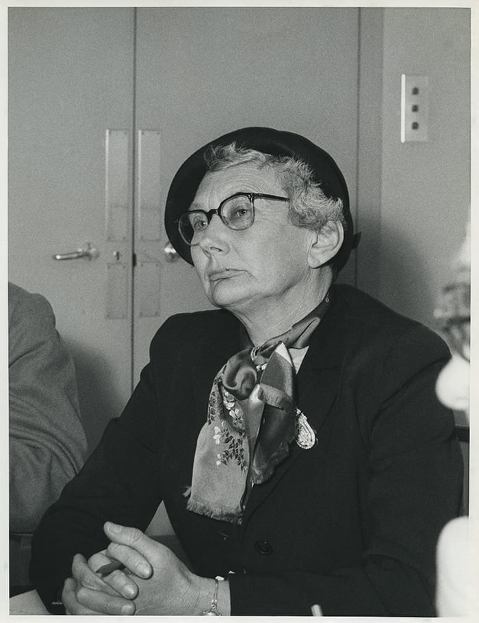 Black and white portrait of Sylvia Crowe wearing a barat