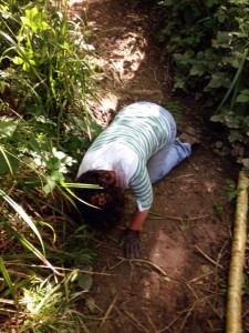clearing blocked drains under the path structure