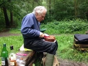 John cuts the incredible birthday cake
