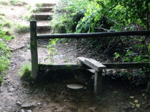 A repaired and safe stile which now invites visitors rather than providing an athletic obstacle.