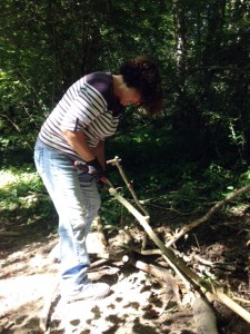 cutting wood to the right length for the path width