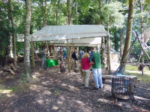 A view of the crafts tent which included regular craftspeople who educate visitors and produce some beautiful objects made directly from the trees wood and timber.