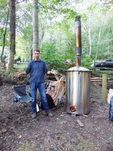 This person invented his charcoal burner to be incredibly efficient in making high quality charcoal. Although he admits it does not provide him with a living, he sets it up to run while he attends other employment.