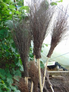 I was particularly taken by these brooms made from twigs with hazel handles. They are incredibly efficient at sweeping up leaves from the lawn and are beautiful objects in themselves