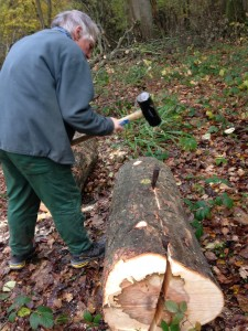 John begins splitting the trunk with two steel wedges and a sledge hammer