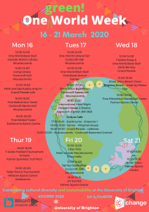 """An image with the schedule for One Green World Week. A text based alternative version is available using the """"OGWW Schedule - Accessible"""" link above."""