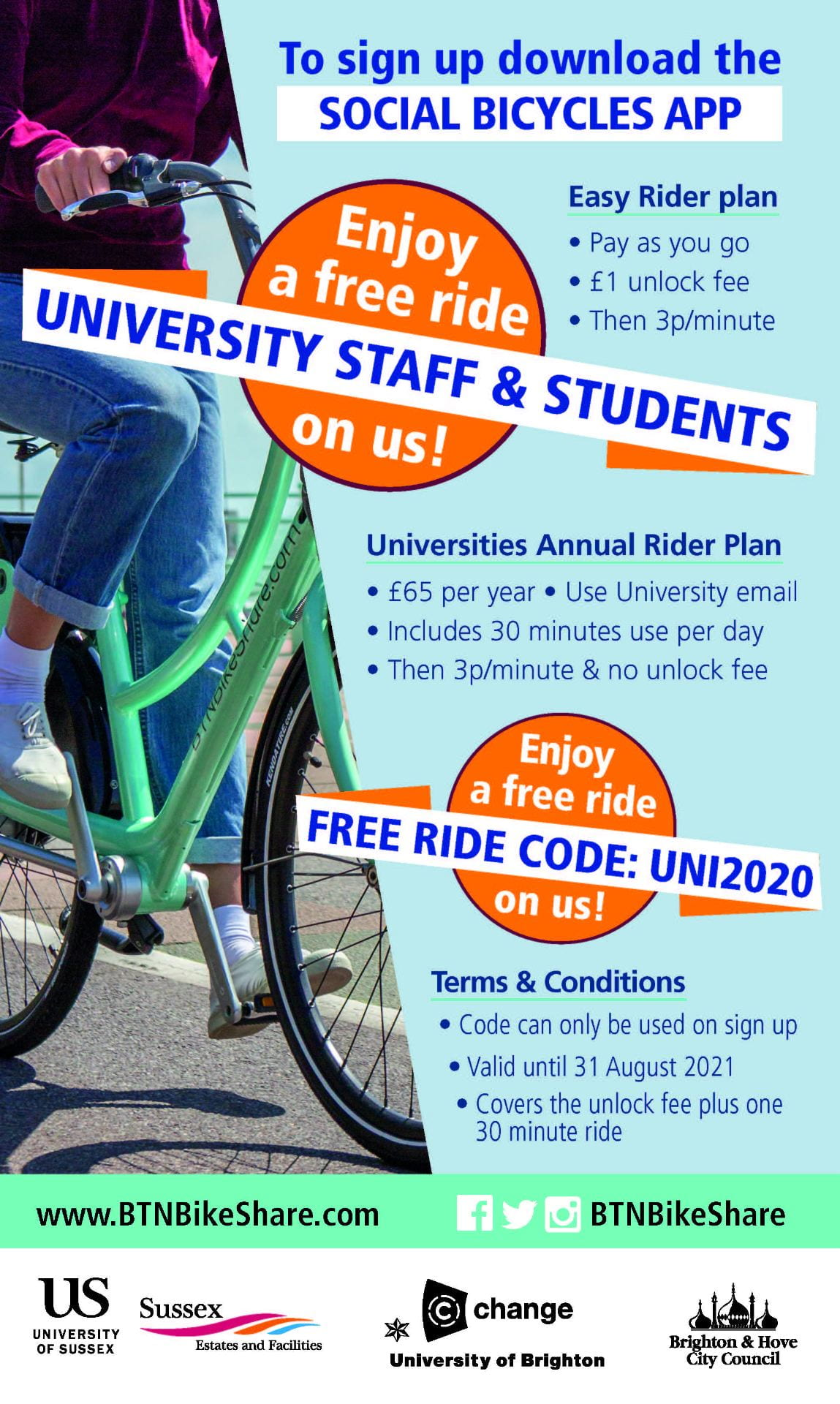 Download the Social Bicycles app - use code UNI2020 for a free ride
