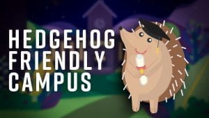 "A cartoon hedgehog wearing a mortar board next to the text ""Hedgehog Friendly Campus"""