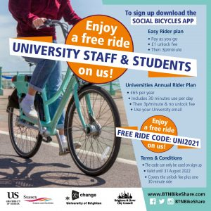 University staff and students. Enjoy a free ride on us! To sign up download the social bicycles app. Easy ride plan: pay as you go/ £1 unlock fee then 3p per minutes. Universities annual rider plan: £65 a year, includes 30 minutes use a day then 3p/minute & no unlock fee. Sign up using your university email. Enjoy a free ride on us! Free ride code: UNI2021. Terms and conditions: the code can only be used on sign up, valid until 21 August 2022, covers the unlock fee plus one 30 minute ride.