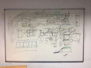 white board, initial designs