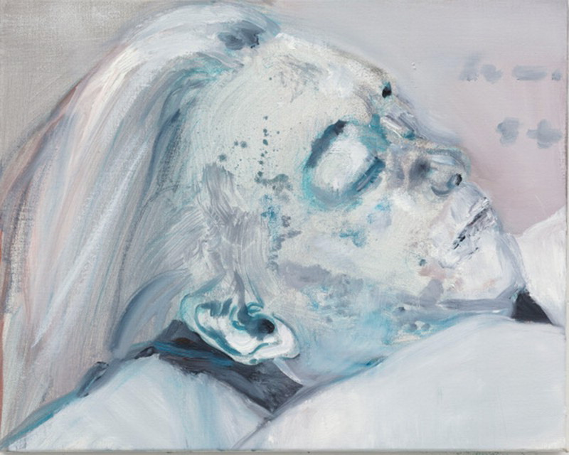 painting from photograph of the dead Marilyn Monroe