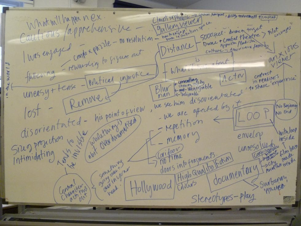 whiteboard with notes
