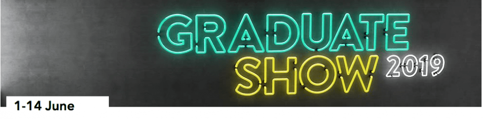 neon lit sign of Graduate Show
