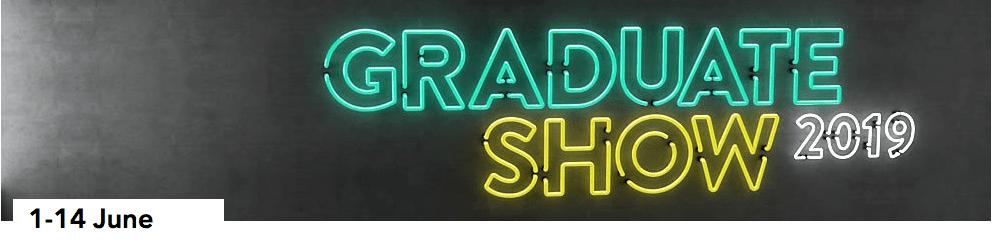 neon lit sign of Graduate Show
