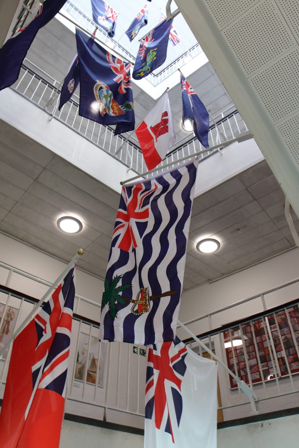 flags in staircase at Grand Parade