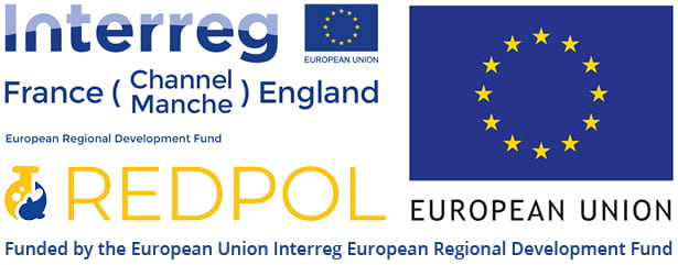 Combined logos of Interreg, European Union flag and RedPol, funded by the European Regional Development Fund