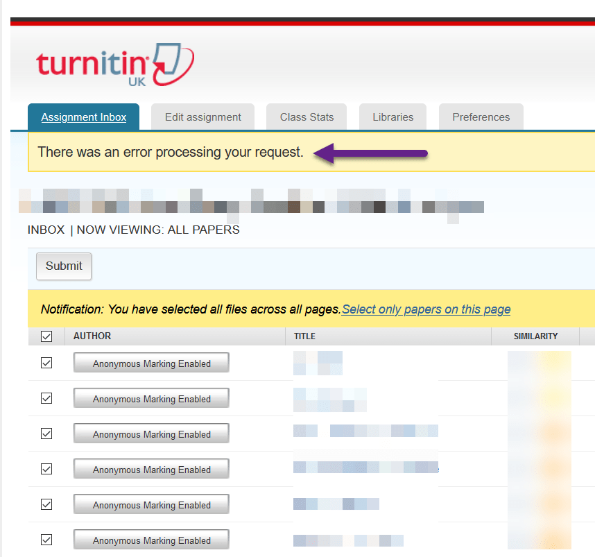 Screenshot of a simulated Turnitin Submission Point with an error message show at the top of the screen when attempting to download the 'original file' papers