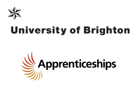 University of Brighton logo and Apprenticeships logo