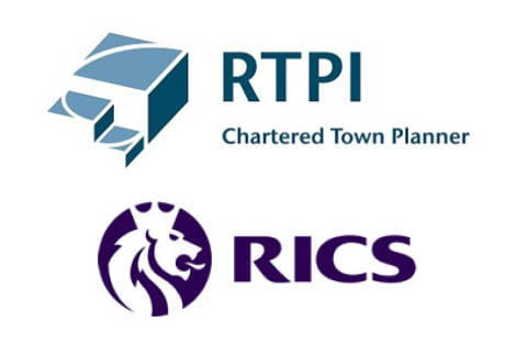 Logos for: The Royal Town Planning Institute and the Royal Institute of Chartered Surveyors