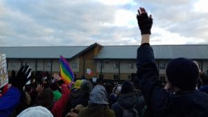 A protest outside Yarl's Wood immigration removal centre in Bedfordshire