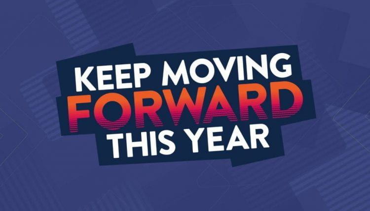 Keep moving forward this year graphic