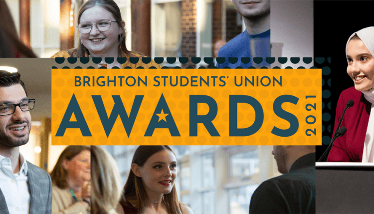 Image of faces with Brighton Students' Union awards 2021 overlaid