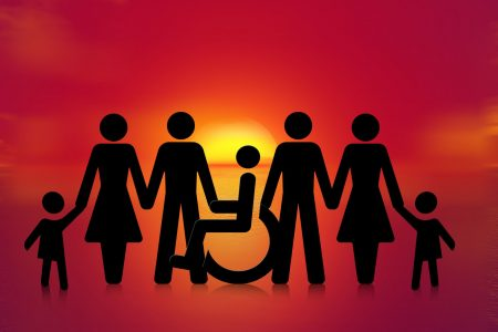 graphic showing silhouette of people - one person in a wheelchair