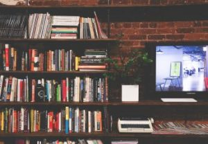 bookcase and tv