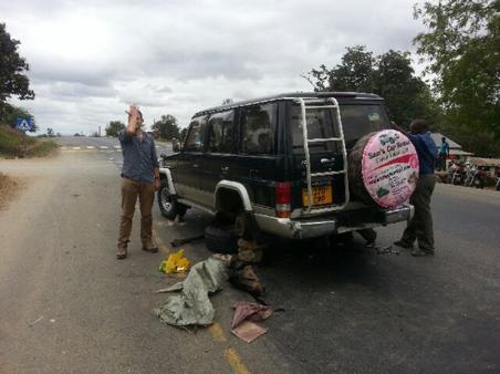 roadside breakdown in Tanzania