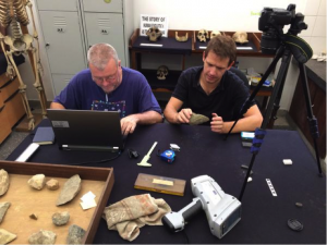 Dr John McNabb (left) and Dr James Cole (right) identifying artefacts from Isimila in the National Museum in Dar es Salaam for raw material analysis. Photograph courtesy of Professor David Nash