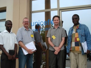 Owen Kapudzama, University of Malawi, Huw Taylor, James Ebdon and Geoffrey Chavula, University of Malawi, at UNICEF headquarters