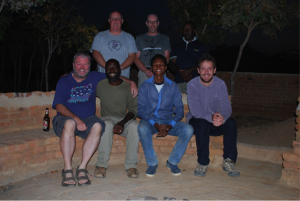 Team photograph at the end of the fieldwork session.  Back row, left - right: Professor David Nash, Dr Martin Bates, Dr Amandus Kwekason, Front row, left - right: Dr John McNabb, Mr Saidy Mlewa (owner of Isimila Africal Gardens and local guide), Mr Joseph Temu, Dr James Cole.