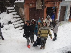 Students from 2015 in Morocco - snow in the Atlas Mountains