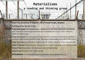 Materialism - A reading and thinking group - first meeting 18 November - Room G4 Grand Parade