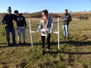Students measuring the magnetic field gradient at Sheepcote valley near Brighton.