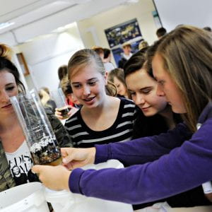 geography students doing experiment