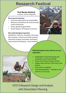 Becky Elmhirst research festival poster